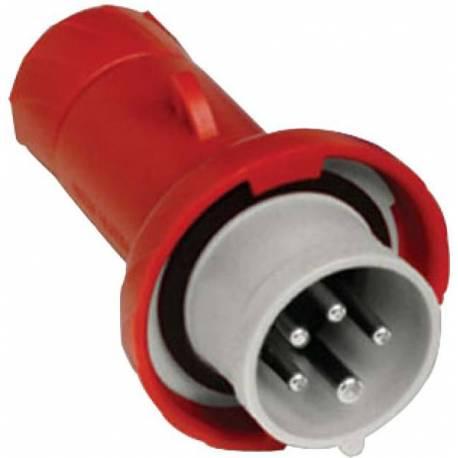 Prise 16A 380V-415V mobile mâle rouge 3P+N+T IP67