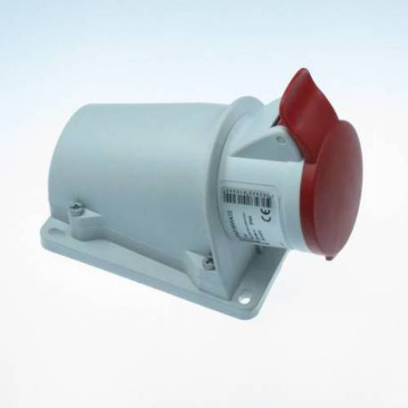 Base socket protruding inclined 16A red 3P+N+T 380V-415V