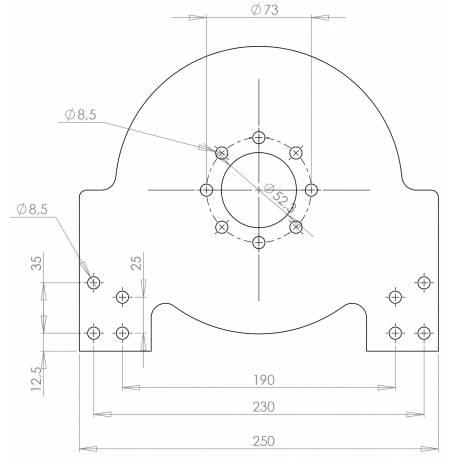 Plaque support moteur PMS 100 acier 6mm pour banc moteur